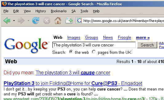 The playstation 3 will cure cancer - The playstation 3 will cause cancer