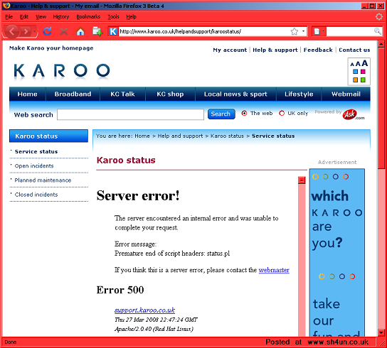 Karoo's Direct Approach To Server Status